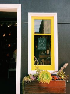 Yellow painted window trim - Dark building / home exterior - Window box with potted succulents