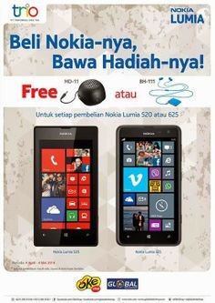 Nokia Lumia 520 dan 625 promo Speaker dan Bluetooth Headset sampai dengan tanggal 4 Mei 2014 di Global Teleshop,   Read more: http://www.informasiponsel.com/2014/04/promo-nokia-april-dan-mei-2014.html#ixzz30D5K2tKa Follow us: @infoponsel on Twitter