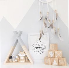 This Modern design is an amazing way to decorate your child's nursery or kids bedroom. The shelf is easy to hang on a wall, simply put the top of the triangle over a nail, screw our use ...
