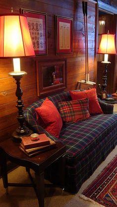 Plaid Sofa - The Polohouse: The Tack Room Tartan Decor, Tartan Plaid, Plaid Couch, Interior Exterior, Interior Design, Cedar Paneling, English Country Decor, Decoration Design, House Design