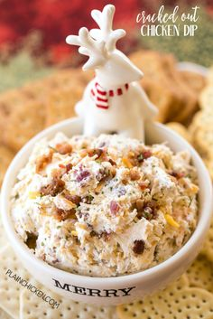 Cracked Out Chicken Dip - this stuff is SO addicting! Chicken, cream cheese, ranch mix, bacon, cheddar cheese and milk. This makes a ton! Great for parties! Can make ahead and refrigerate until ready to serve. Everyone LOVES this dip! Appetizer Dips, Yummy Appetizers, Appetizers For Party, Appetizer Recipes, Snack Recipes, Cooking Recipes, Snacks, Party Dips, Keto Recipes