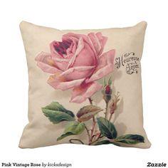 Pink Vintage Rose Throw Pillow