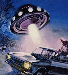 Another UFO encounter. Illustration by Aldo Di Gennaro for an Italian magazine (1972). ""