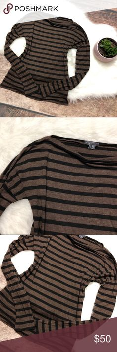 VINCE Heathered Brown Striped Long Sleeve Top VINCE Heathered Brown Striped Long Sleeve Top size large. Brown with black stripes, boat neck and long sleeves. Relaxed, slub fit. Thin and lightweight. Viscose. Vince Tops Tees - Long Sleeve