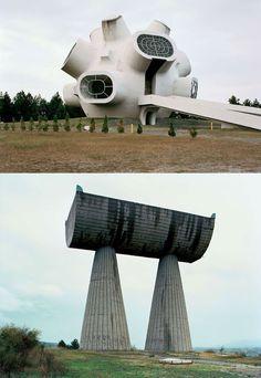 Abandoned Yugoslavian monuments.