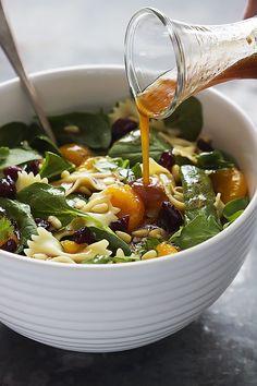 Mandarin Pasta Spinach Salad with Teriyaki Dressing   lecremedelacrumb.com
