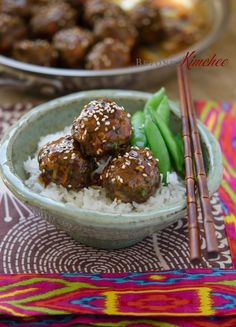 Asian style beef meatballs are made with ground beef, mushrooms, bell pepper, green onion. They are baked in oven and coated with glaze made with pineapple.