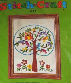 Vintage 'Stitch-Craft' crewel embroidery kit, coloful owl in tree....7 X 9 inch size