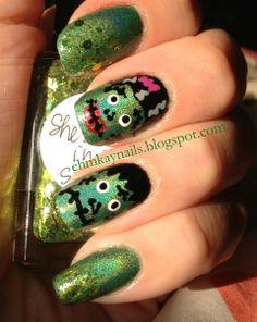 Frankenstein Nail Art   http://ehmkaynails.blogspot.com/2012/10/now-and-then-frankenstein-nails-my.html