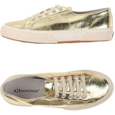 Superga Low-tops & Trainers ($53) ❤ liked on Polyvore featuring shoes, sneakers, gold, animal trainer, flat shoes, round toe sneakers, round cap and flat sneakers