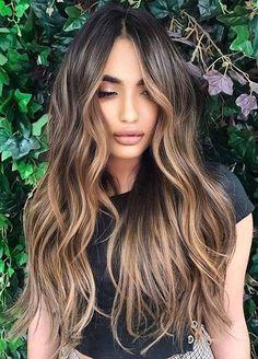 Balayage Hair Caramel, Hair Color Caramel, Brown Hair Balayage, Brown Blonde Hair, Long Hair Highlights, Hair Color Balayage, Dark Hair, Caramel Hair With Blonde Highlights, Balyage Long Hair