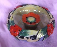 Vintage Lusterware Flower Bowl & Flower Frog Art Pottery Japan