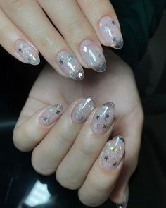 152 pretty acrylic coffin nails for summer 44 pretty acrylic coffin nails for summer 44 Honeycomb Nail Art See We loved this nail art model that will be similar to honeycomb Clear Acrylic Nails, Almond Acrylic Nails, Acrylic Nail Designs, Clear Nails With Glitter, Glitter Nails, Star Nail Art, Star Nails, Cute Nails, Pretty Nails