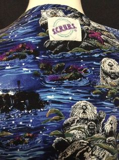 Scrubs Nursing Uniform Scrub Top Sea River Otter Water Weasel cute Animal Print #SCRUBS