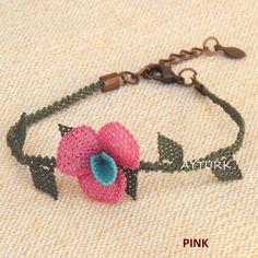 4 colors/Turkish OYA Needle Lace Bracelet ORCHID/Crocheted Jewelry Wedding Bib Flowers Accessories Dresses Jewelry by AYTURKcappadocia on Etsy