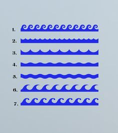 Ocean Waves, by the foot  - Decal, Sticker, Vinyl, Wall, Bathroom, Pool, Coastal Decor via Etsy