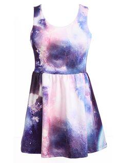 White Purple Galaxy Dress