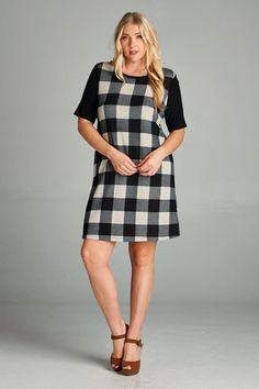 Kelly Brett Boutique - Plus Size Plaid Dress Black, $38.00 (https://www.kellybrettboutique.com/plus-size-plaid-dress-black/)