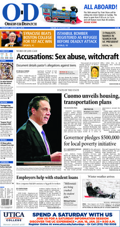 The front page for Thursday, Jan. 14, 2016: Accusations: Sex abuse, witchcraft