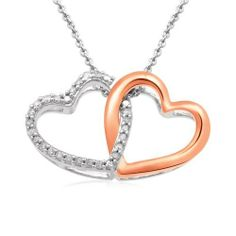 "18k Rose Gold Plated Sterling Silver Diamond Heart Pendant Necklace (1/7 Cttw, I-J Color, I2-I3 Clarity), 18"" Amazon Curated Collection. $69.30. Made in India"