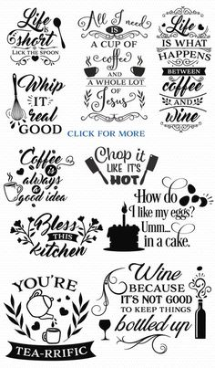 The Big SVG Cut Files Bundle Limited Promotion - Baking Shirts - Ideas of Baking Shirts - Love all of these kitchen svg cut files! SVG Bundle with over 100 cut files for diy projects using your Cricut or Silhouette cutting machine Cool Diy Projects, Vinyl Projects, Craft Projects, Vinyl Crafts, Free Svg, Wine Quotes, Coffee Quotes, Circuit Projects, Silhouette Cameo Projects