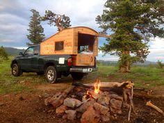 Tuffli Built truck camper at campsite Mehr Source Build A Camper, Diy Camper, Pickup Camper, Pickup Trucks, Truck Bed Trailer, Accessoires 4x4, Truck Toppers, Truck Bed Camping, Van Camping