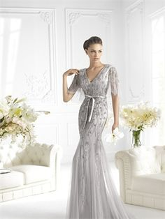 Mermaid V-neck Short Sleeves Beaded and Appliqued Silver Chiffon Prom Dress PD2171 www.simpledresses.co.uk £189.0000