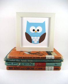 Owl Wall Art Animal, Owl Print, Home Decor, Nursery Pictures, Blue Owl, Forest Animal, Woodland Creature. $6.00, via Etsy.