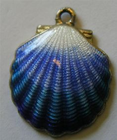 Superb Vintage Sterling Silver Guilloche Enamel Scalloped Shell Nautical Charm
