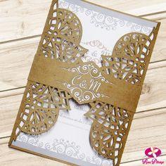 Convite de Casamento Rústico em envelope Kraft com corte a laser - Modelo Arab. www.rosapittanga.com.br