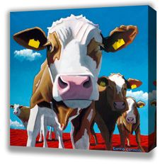 Box Canvas of 'The Leader Of The Pack' by Eoin O'Connor, available in sizes X & X also available in multiple sizes as a framed print Art Prints, Photo, Fine Art, Disney Characters, Canvas Prints, Painting, Artwork, Cow Painting