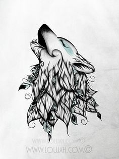 LouJah - The Wolf #art #loujah #wolf #illustration #draw #drawing #dessin #boho #tattoo