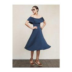 nashville dress ($158) ❤ liked on Polyvore featuring dresses, off the shoulder dress, loose dresses, flounce dress, off shoulder ruffle dress and loose mini dress