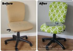 I really want to make a cover or recover my classroom desk chair. Love this green and white print.