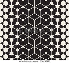 Vector Seamless Black and White Line Connected Hexagon Grid Halftone Gradient Pattern Abstract Background