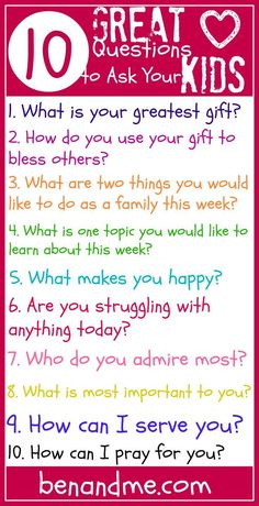 Q is for 10 Great Questions to Ask Your Kids Sometimes it's good to listen. Really listen. To your kids. Take a moment to talk with your kids this week. You may be surprised at what you find out! Parenting Advice, Kids And Parenting, Natural Parenting, Single Parenting, Parenting Quotes, Questions To Ask, This Or That Questions, Bible Questions For Kids, Encouraging Words For Kids