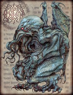 "Cthulhu is a deity in the Cthulhu Mythos. He first appears in H. Lovecraft's ""The Call of Cthulhu"", but remains a recurring presence… Necronomicon Lovecraft, Lovecraft Cthulhu, Hp Lovecraft, Cthulhu Art, Call Of Cthulhu, Cthulhu Tattoo, Dark Fantasy, Fantasy Art, Arte Horror"