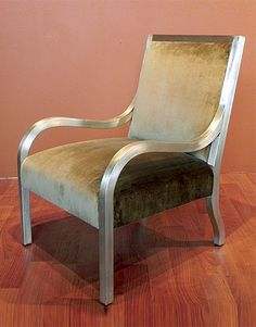 Bedford Lounge Chair by Anees Upholstery has an Antique Silver Leaf finish or any of our Standard Walnut finish. Click on the picture for more!