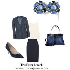 """""""Wearing Statement Earrings to the Office"""": Brighten up your day with these 1950s lava rock clip-back earrings in shades of blue."""