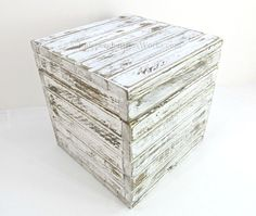 Distressed White 10 Inch Wooden Storage Cube - Cottage Chic Farmhouse Storage Box - Handmade Shabby Painted Gift Box - Small Crate with Lid by IndependentBoxWorks on Etsy https://www.etsy.com/listing/271466795/distressed-white-10-inch-wooden-storage