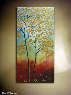 Original Fall Tree Painting Large Abstract Artwork by NataSgallery