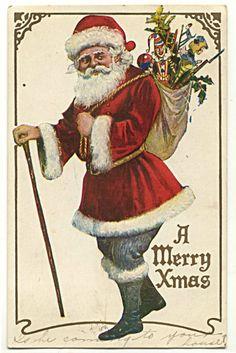 Santa Claus Toy Bag Walking Stick Postcard | eBay