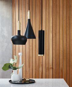 LEDlux Carter Dimmable Pendant in Black/Brass from Beacon Lighting at Crossroads Homemaker Centre