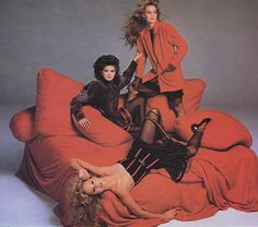 Jerry Hall, Rosie Vela, and Gia Carangi for Versace, 1979