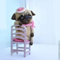 "Needle felted Pug entitled ""Waiting"".  SO PRECIOUS!"