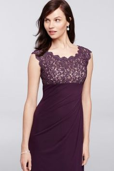 This dress is definitely a winner for any special event you are going to this season.  Dazzling cap sleeve glitter lace bodice has a scallop trim.  Long layered mesh skirt features ruching in front and back providing a cascading ruffle on side.  Designed by Xscape.  100% polyester lined. Center back zipper. Imported. Professional spot clean only. No direct heat or steam. To protect your dress, our Non Woven Garment Bag is a must have!