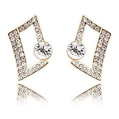 Chokushop Women Earings Fashion Jewelry Austria Crystal Geometry Gold Plated Square Stud Earings 6912 *** Check out the image by visiting the link.