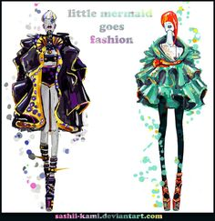 Ariel & Ursula [as a human] (Fashion by Sashiiko-Anti @deviantART) #TheLittleMermaid