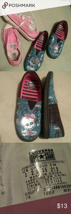 Pink converse  and  Monster  High#BUNDLE Both  size  3  youth Converse Shoes Sneakers