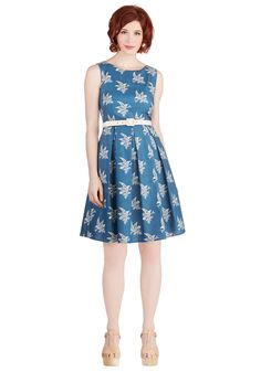 Soaring Through the Day Dress. The chirping birds outside your window awoke you this morning, so slipping into this bird-printed dress by Myrtlewood before heading out for the day only feels appropriate! #blue #modcloth
